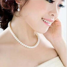 Women's Vintage White Pearl Round Bride Bridesmaid Jewelry Choker Bead Necklace