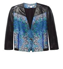 HELMUT LANG Medallion Boxy Jacquard Jacket Leather Sleeves Size 6 - $995