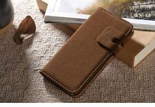iPhone 6/6s Wallet Cases Brown/Beige/Black Suede Leather Stand