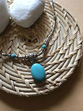 Kurz Halskette Hakenverschluss Anhänger Tibetsilber Platiniert Perlen Türkis Neu