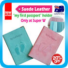 """My first passport"" Holder Suede Leather Cover Case Protector Travel Wallet"