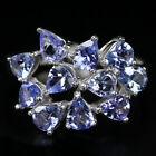Silver 925 Genuine Natural Blue Violet Tanzanite Ring Size S  (US 9.25)