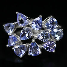 Silver 925 Genuine Natural Blue Violet Tanzanite Cluster Ring Size P.5  (US 8)