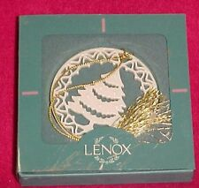 Lenox China Porcelain Christmas Holiday Tree Ornament Lace Gold Rim Wreath