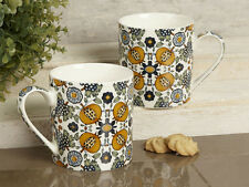 Set of 2 V&A Dutch Painted Tile FINE CHINA MUGS