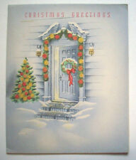 Glittery tree garland open front door  vintage Christmas greeting card A*