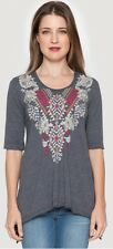NWT $133 Johnny Was L Dharma Trapeze Tee Heather Grey