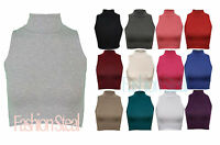 New Womens Ladies Sleeveless Plain Turtle Polo High Neck Crop Top Vest T-Shirt