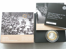 2014 Piedfort First World War Kitchener £2 Two Pound Silver Proof Coin Box Coa
