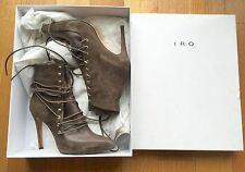 IRO Khaki Karda Suede Leather Lace Up Booties Stiletto Heels Boots sz 38