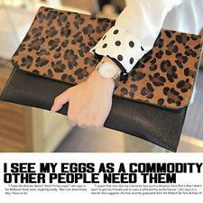 Women Clutch Evening Leopard Envelope Handbag Real Suede PU Purse Shoulder Bag