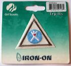 Retired Girl Scout Brownie MY BODY TRY-IT Badge Health Diet Red Heart Patch NEW