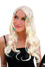 Woodstock Hippie Perücke BLOND lang Perlen Mittelscheitel Flowerpower Beatnik