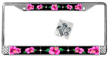 Hot Pink Hibiscus On Black License Plate Frame Gift Polished Metal Flowers TXT