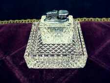 GREAT Butane Lighter with heavy Crystal base & Crystal Ashtray- Flint sparks