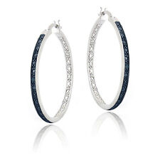 Blue Diamond Accent 30mm Round Hoop Earrings in Brass