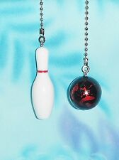 Set of Two ~ Pin & Bowling Ball Red Rec Room ~ Ceiling Fan/Light Pull Chains