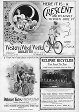 CHERUB RIDING CRESCENT BICYCLE, 1896 PALMER PNEUMATIC TIRE CO. ECLIPSE BICYCLES