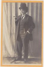 Studio Real Photo Postcard RPPC Woman Crossdressing as Man w/ Cigar Lesbian Int