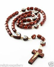 Men's Cherry Wood Rosary with 7 Images of Jesus - Made in Brazil