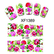 Colorful Flowers Nail Decals Wrap Foil Water Transfer Decoration Hot Easy DIY