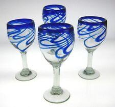 WINE Glasses, blue swirl design, Mexican Glassware, 12 oz