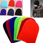 Plain Beanie Knit Ski Cap Skull Hat New Warm Solid Color Winter Cuff Blank Beany