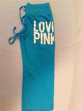 VICTORIAS SECRET LOVE PINK CROPPED SWEAT PANTS TURQUOISE BLUE EXTRA SMALL NEW