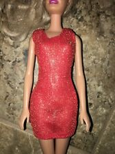 Barbie Orange Red Gold Shimmer Sheer Mini Sun Dress Glam Gown Outfit Black Label