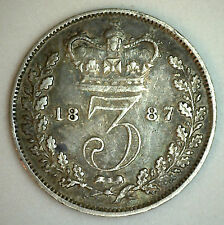 1887 Silver 3 Pence Great Britain Uk English Coin Yg