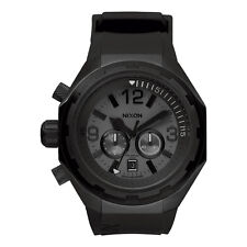 Nixon Mens Steelcat Black Rubber Strap Chronograph Watch A313-001-00
