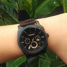 Fossil Men's FS4656 Machine Vintage Style Brown leather Watch with Brown Band