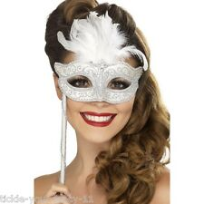 Women's Girls Sequins Feathers Mask Stick Eyemask Gothic Halloween Masquerade