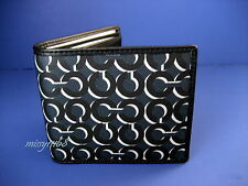 NWT Coach Crosby Op Art Shadow Double Billfold Wallet 74469 Navy / Multi
