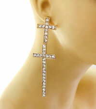 Bling Rhinestone BIG DOUBLE CROSS Statement Gold Earrings Metal 4.5""