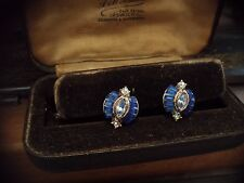 Vintage Deco Sapphire Crystal  Clip-On Earrings. Rhodium Plated