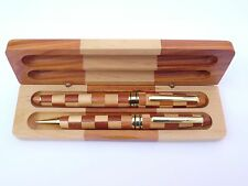 "DE-LUXE WOODEN CHECKED ""Roller Ball & Ballpoint Pen"" SET in a WOODEN BOX-NEW"