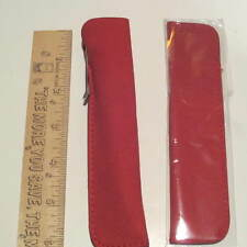 SET of 2 CHERRY RED SUEDE LEATHER LARGE TOP OPEN Pen Pouch/Sleeve/ Holder
