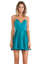 Keepsake Stolen Hearts Mini Bustier Mini Full Skirt Dress Emerald Green 10