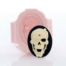 Skull Cameo Silicone Mold - Jewelry Resin Polymer Clay Epoxy - Food Safe (550)