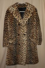 Vtg Women's Cheetah Faux Fur Coat Safari Fitted Animal Print Fancy Belt 12