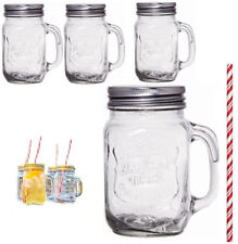 Mug Set Of 4 Glass Mason Jars Set Drinking Mugs Cocktail Handle Straws 450ml