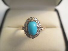 ESTATE 18K  Gold Rose Cut Diamond &Turquoise Ring  Dia=1/2 Carat   11 MM Wide