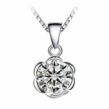 "1CT Rose Diamond Sterling Silver 925 Pendant 18"" Chain Necklace MOM her gif-NL21"