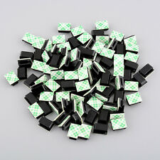 100pcs plastic Self-adhesive Rectangle Wire Tie Cable Mount Black 13x9.5x6mm
