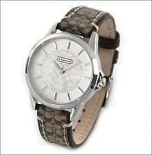 BRAND NEW COACH 14501525 CLASSIC SIGNATURE KHAKI FABRIC STRAP WOMEN'S WATCH