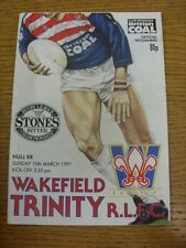 10/03/1991 Rugby League Programme: Wakefield Trinity v Hull Kingston Rovers  . C