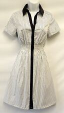 New Ladies White Grey Silver Striped Metallic Lurex Fitted  Shirt Dress UK 12
