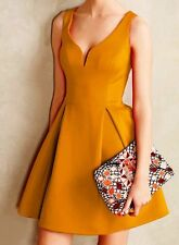 Rosegal Mustard yellow vintage style v-neck skater dress Size Small NEW