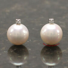 14k White Gold with Genuine Diamond & AAA White Cultured Pearl Stud Earrings TPJ